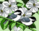 Dogwood and Black Capped Chickadees by Pixel Paint Studio
