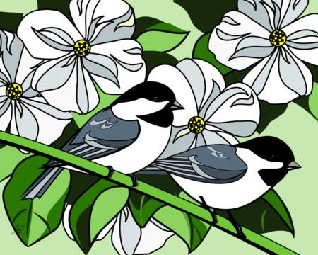 Dogwood and Black Capped Chickadees