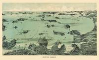 Boston Harbor Pictorial View Vintage Map1897