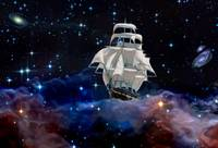A sailing ship in space is floating between the st