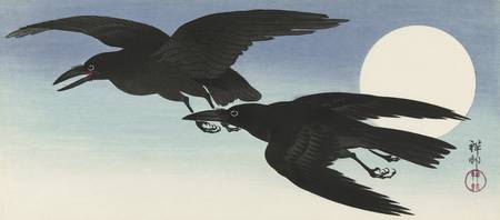 Crows at Full Moon by Ohara Koson