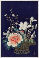 Bamboo Flower Basket by Ohara Koson