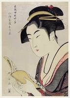 Woman Reading a Book by Utamaro Kitagawa