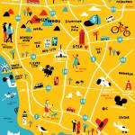 Illustrated Map of Los Angeles,CA by Nate Padavick Prints & Posters