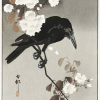 """""""Crow and Cherry Blossom by Ohara Koson"""" by FineArtClassics"""