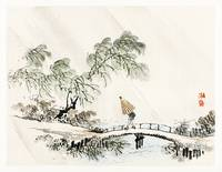 A Man Crossing the Bridge by Kono Bairei