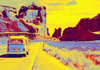 Classic American Car in Grand Canyon gradient neon