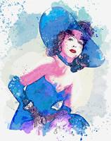Hedy Lamarr 1940's fashion watercolor by Ahmet Asa
