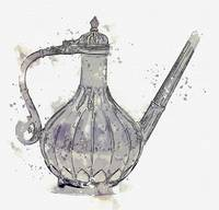 MUGHAL EWER watercolor by Ahmet Asar