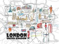 London UK Illustrated Travel Poster Favorite Map T