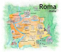 Rome Italy Illustrated Travel Poster Favorite Map