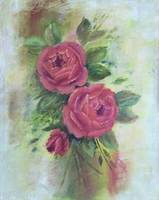 Floral Painting of Red Roses Flowers