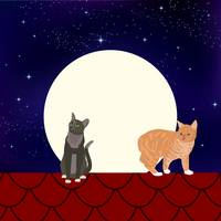 Cats on a full moon night