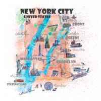 New York City Illustrated Map with Main Roads, Lan