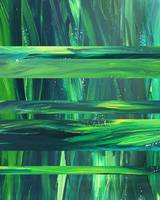 Green Pond Reflections Organic Abstract  Art