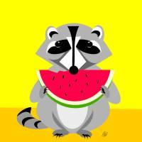 Raccoon Wildlife Art Prints & Posters by Pixel Paint Studio