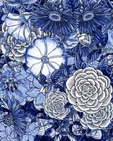 Ultramarine Blue Botanical Garden Decor Pattern