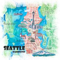 Seattle Washington Illustrated Map with Main Roads