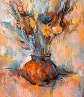 Flowers in a Vase Stylized Oil Painting