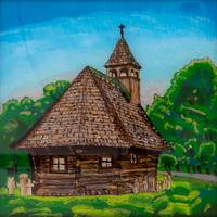 Reverse Glass Painting of Wooden Church