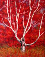 White Birch Tree Painting