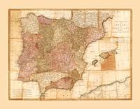 Kingdoms of Spain and Portugal Map by Robert Sayer