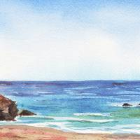 Long Calm Beach Watercolor Seascape Painting Art Prints & Posters by Irina Sztukowski