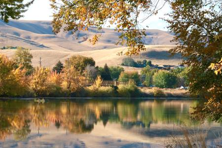 Serene Autumn Water with Hills b