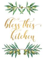 Bless this kitchen Wall art Gold Lettering Olives