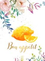Bon Appetit Lemon Floral Kitchen Wall art