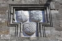 Coat of arms on the walls of the Rhodes medieval f