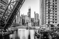 Chicago Skyline and Bridge in Black and White