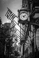 Chicago Macy's Clock in Black and White