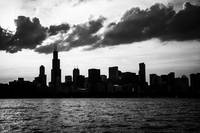 Chicago Skyline Silhouette in Black and White