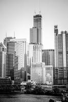 Chicago with Sears Willis Tower in Black and White