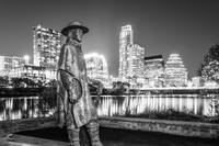 Austin Skyline and SRV Statue in Black and White
