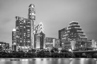 Austin Texas Skyine at Night in Black and White