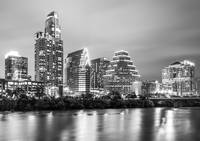 Black and White Austin Skyline at Night