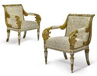 A pair of Italian Neoclassical white painted and p