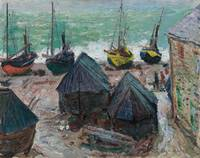 Boats on the Beach at Étretat by Claude Monet