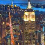 Bright Lights Big City Above New York City by RD Riccoboni