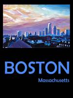 Retro Travel Poster Boston Massachusetts