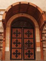 Door with six coptic crosses