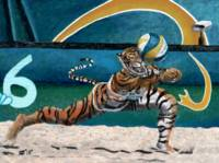 Cat Warrior Playing Beach Volleyball Fantasy Art