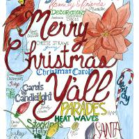 Merry Christmas Y'all Art Prints & Posters by Joanna Posey