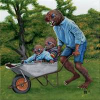 Fish Man Autumn Fun Wheelbarrow Ride Fantasy Art