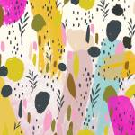 Pink And Yellow Trendy Modern Abstract Art  Prints & Posters
