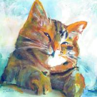 Happy Kitten Orange tabby cat picture Art Prints & Posters by RD Riccoboni