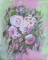 Floral Roses and Blossoms Painting on Pink and Gre