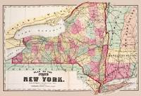 Antique New York Map with counties 1874